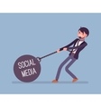 Businessman dragging a weight Social Media on vector image vector image