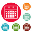 calendar day icons circle set vector image vector image