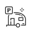 camper icon in simple one line style vector image