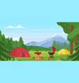 cartoon flat tourist camp with picnic spot and vector image vector image