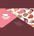 cartoon fresh meat products composition vector image