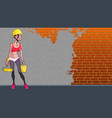 cartoon girl worker against an unpainted wall vector image vector image