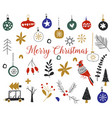 christmas collection with seasonal elements vector image