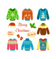 christmas jumper set woolen xmas ugly sweaters vector image vector image