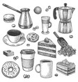 coffee and desserts sketch pot and maker vector image