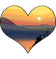couple in love looking to the sunset vector image