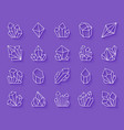 crystal simple paper cut icons set vector image