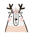 cute cartoon dear girl in scandinavian style vector image vector image