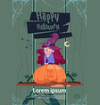 cute kid wear witch costume sit on pumpkin happy vector image vector image