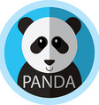 Cute Panda bear cartoon flat icon avatar round vector image vector image