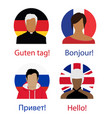 different language speech hello concept russian vector image
