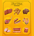 different types of steaks on menu vector image