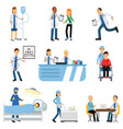 doctor with patient nurse with dropper trolley vector image vector image