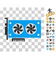 dual gpu videocard icon with bonus vector image vector image