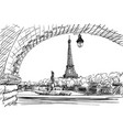 eiffel tower view from bir-hakeim bridge sketch vector image