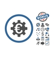 Euro Machinery Flat Icon With Bonus vector image vector image