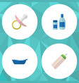 flat baby set of bathtub nipple feeder and other vector image vector image