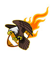 Flying Bald Eagle And Flaming Football vector image vector image