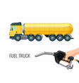 fuel truck and hand holding classic nozzle pumping vector image vector image