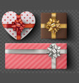 gift box set with golden bow ribbons isolated vector image