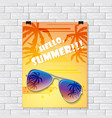 gray brick wall with summer poster vector image vector image