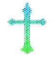 halftone blue-green christian cross icon vector image vector image