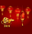 happy chinese new year 2020 card with golden rat vector image
