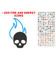 hell fire icon with bonus power collection vector image