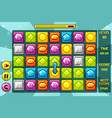 interface gems match3 games multicolored vector image vector image