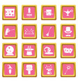 magic icons pink vector image vector image