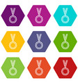 medal icon set color hexahedron vector image vector image