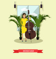 musician playing contrabass vector image vector image