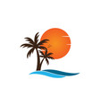 palm tree on a beach logo design template vector image vector image