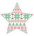 Scandinavian pattern in star shape in green and vector image vector image