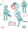 Seamless pattern with cute love robot in gentle co vector image