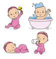 set baby girl vector image vector image