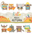 set cute animals with autumn theme on white vector image vector image