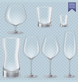 set of cocktail stemware and glasses for alcohol vector image vector image