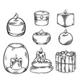 set relax candles black sketch with hatching vector image vector image