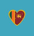 sri lanka flag icon in a heart shape in flat vector image vector image