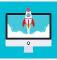 Startup Rocket takes off from the vector image vector image