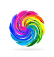 swirly multi-colored flower icon vector image vector image