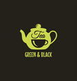 teapot with tea cup logo green and black tea vector image