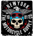 tee skull motorcycle graphic design vector image vector image