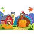 turkey bird holding pumpkin theme 3 vector image vector image