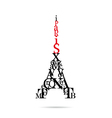 Typography Eiffel Tower vector image vector image