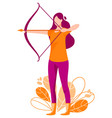woman shoots from the bow archer vector image vector image