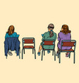women sit back on chairs vector image