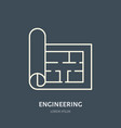 building plan flat line icon architecture vector image