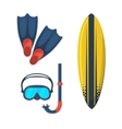 Goggles mask Flippers Surfing board vector image